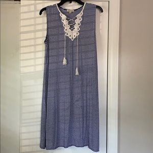 Blue Striped Max Studio Tank Top Dress